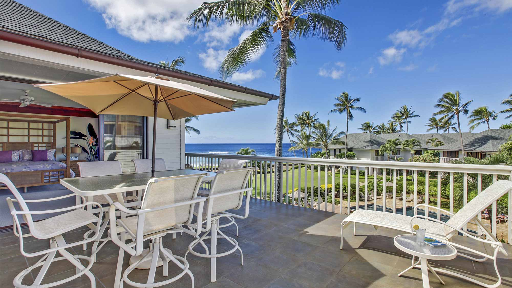 Poipu Kapili Resort #43 - Ocean View Penthouse Dining & Lounging Lanai View - Parrish Kauai