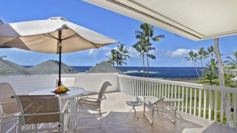 Poipu Kapili Resort #44 - Ocean View Penthouse Dining & Lounging Lanai View - Parrish Kauai